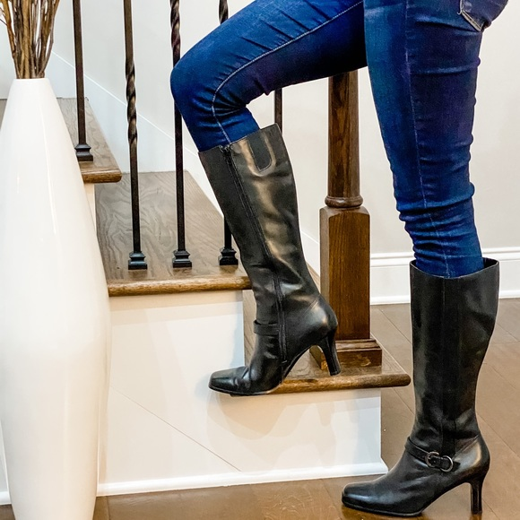 East Fifth Tall black square toe boots